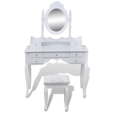 vidaXL Dressing Table with Mirror and Stool 7 Drawers White[2/10]