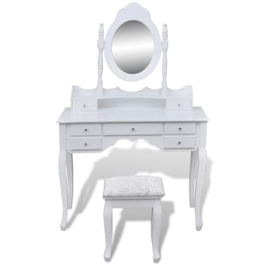 vidaXL Toaletna miza z ogledalom in stolčkom 7 predalov bela[3/10]
