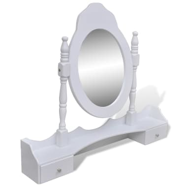 vidaXL Dressing Table with Mirror and Stool 7 Drawers White[7/10]