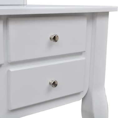 vidaXL Dressing Table with Mirror and Stool 7 Drawers White[9/10]