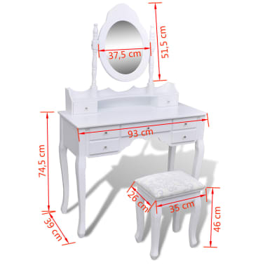vidaXL Dressing Table with Mirror and Stool 7 Drawers White[10/10]