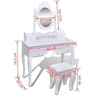 vidaXL Toaletna miza z ogledalom in stolčkom 7 predalov bela[10/10]