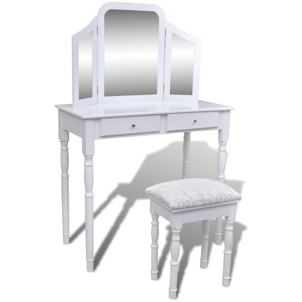 vidaXL Masă de toaletă cu oglindă 3 în 1 și taburet, 2 sertare, alb poza 2021 vidaXL
