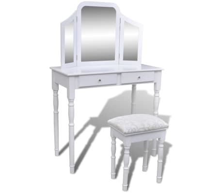 vidaXL Dressing Table with 3-in-1 Mirror and Stool 2 Drawers White[1/9]