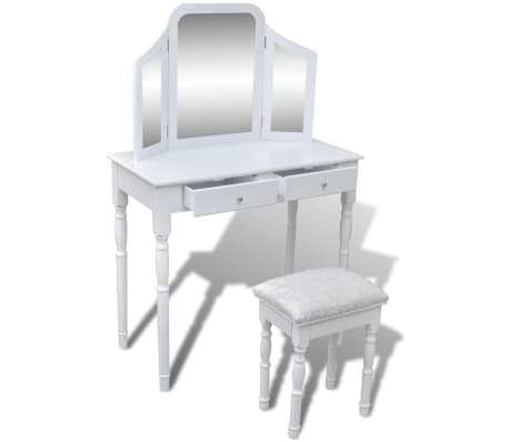 vidaXL Dressing Table with 3-in-1 Mirror and Stool 2 Drawers White[4/9]