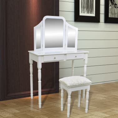 vidaXL Dressing Table with 3-in-1 Mirror and Stool 2 Drawers White[2/9]