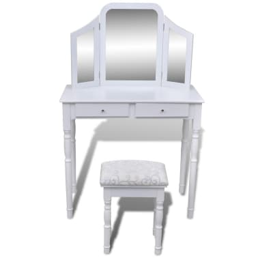 vidaXL Dressing Table with 3-in-1 Mirror and Stool 2 Drawers White[3/9]