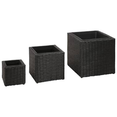 Garden Square Rattan Planter Set 3 pcs Black[1/9]