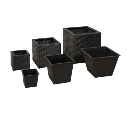 Garden Square Rattan Planter Set 3 pcs Black[3/9]