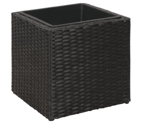 Garden Square Rattan Planter Set 3 pcs Black[5/9]