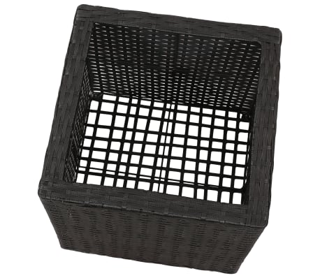 Garden Square Rattan Planter Set 3 pcs Black[6/9]