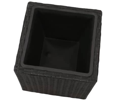 Garden Square Rattan Planter Set 3 pcs Black[7/9]