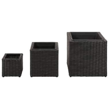 Garden Square Rattan Planter Set 3 pcs Black[2/9]