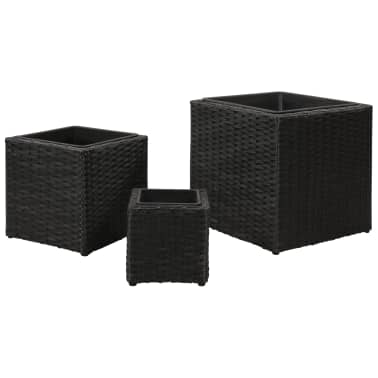 Garden Square Rattan Planter Set 3 pcs Black[4/9]