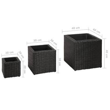 Garden Square Rattan Planter Set 3 pcs Black[9/9]