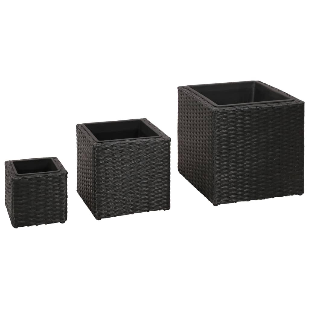 vidaxl-garden-square-rattan-planter-set-3-pcs-black