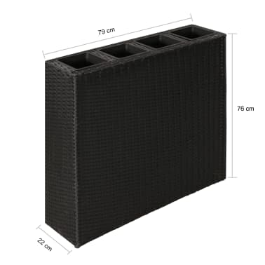 Garden Rectangle Rattan Planter Set Black[7/7]