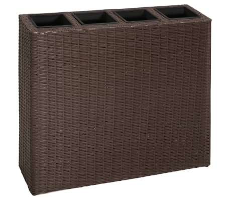 Garden Rectangle Rattan Planter Set Brown[2/7]