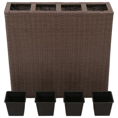 Garden Rectangle Rattan Planter Set Brown[3/7]
