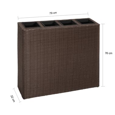 Garden Rectangle Rattan Planter Set Brown[7/7]