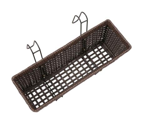 vidaXL Jardinera de balcón trapecio ratán marrón 50 cm 2 uds[6/8]