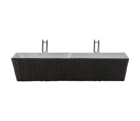 Balcony Trapezoid Rattan Planter Set 80 cm 2 pcs Black[4/12]