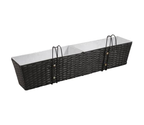 Balcony Trapezoid Rattan Planter Set 80 cm 2 pcs Black[5/12]