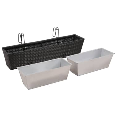 Balcony Trapezoid Rattan Planter Set 80 cm 2 pcs Black[6/12]