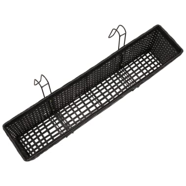 Balcony Trapezoid Rattan Planter Set 80 cm 2 pcs Black[7/12]
