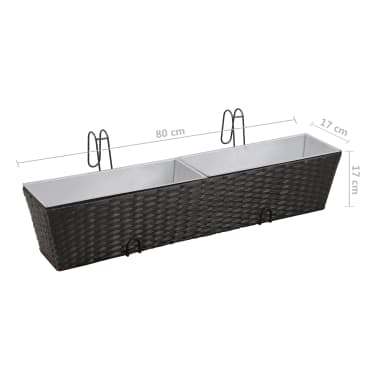 Balcony Trapezoid Rattan Planter Set 80 cm 2 pcs Black[9/12]