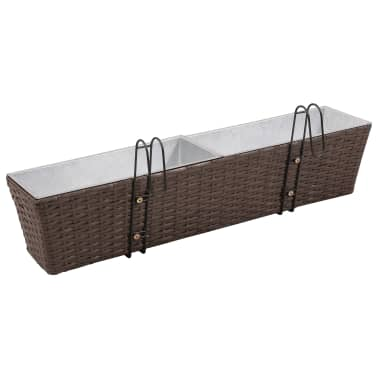 Blomlåda för balkong 2-pack konstrotting/zink brun 80cm[4/8]