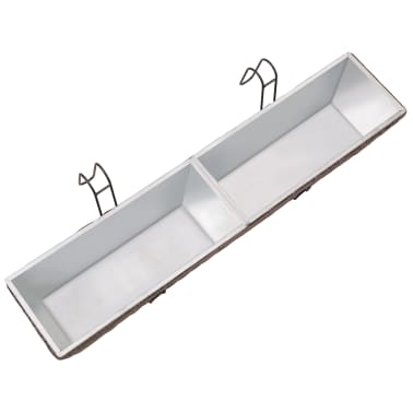 Blomlåda för balkong 2-pack konstrotting/zink brun 80cm[7/8]