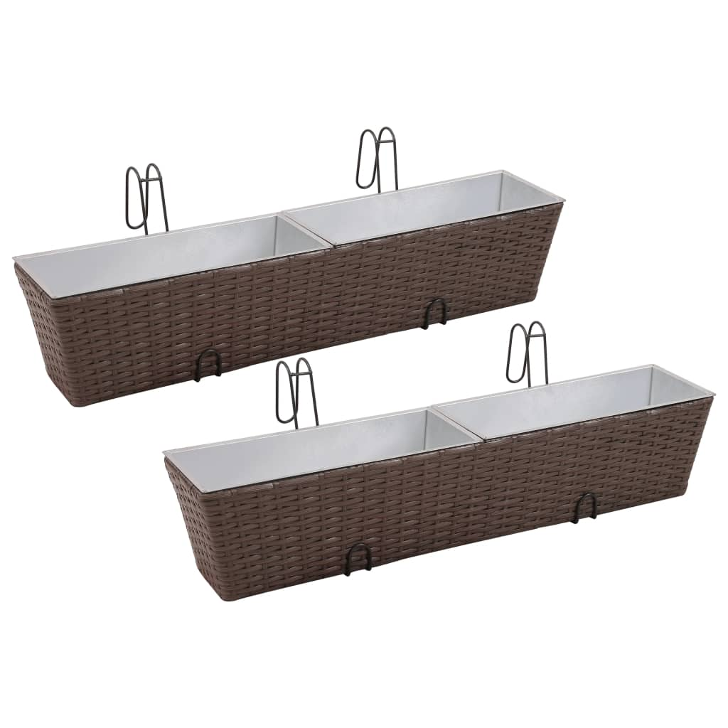 vidaXL Balcony Trapezoid Rattan Planter Set 80 cm 2 pcs Brown