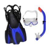 Diving Set Snorkel Fins Lens Blue for Kids 35 - 37