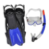 Diving Set Snorkel Fins Lens Blue for Adults Size 10-14