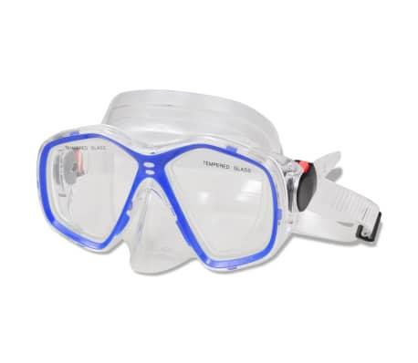 Diving Set Snorkel Fins Lens Blue for Adults Size 10-14[3/4]