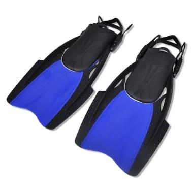 Diving Set Snorkel Fins Lens Blue for Adults Size 10-14[2/4]