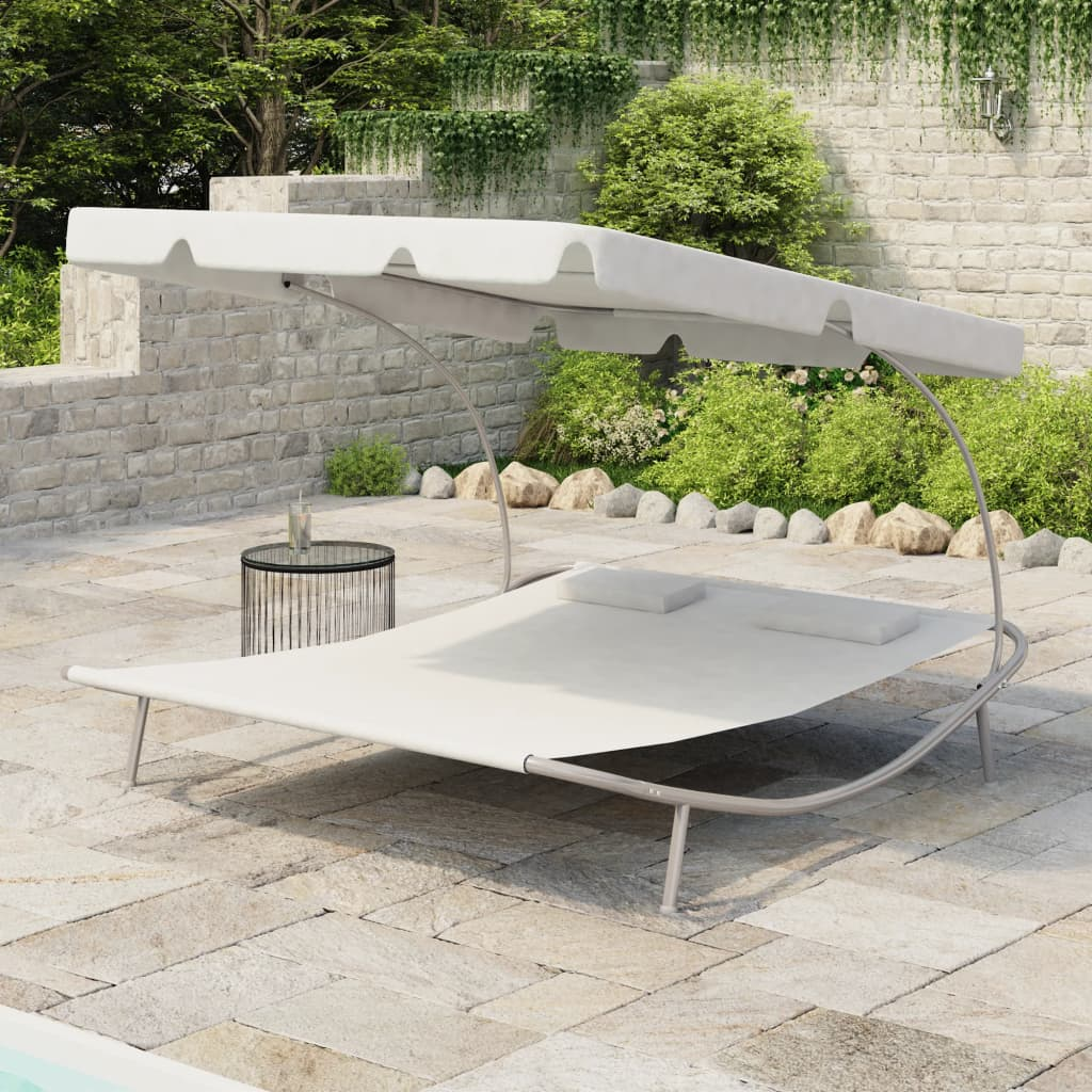 vidaXL Outdoor Double Loungebed with Canopy & 2 Pillows Cream White