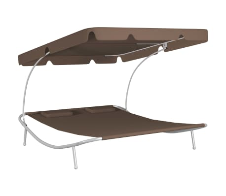vidaXL Outdoor Double Loungebed with Canopy & 2 Pillows Brown[2/5]