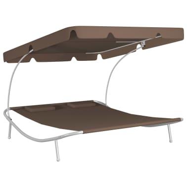 vidaXL Chaise longue de jardin avec auvent et oreillers Marron[2/5]