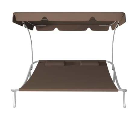 vidaXL Outdoor Double Loungebed with Canopy & 2 Pillows Brown[3/5]