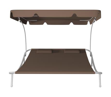 vidaXL Chaise longue de jardin avec auvent et oreillers Marron[3/5]