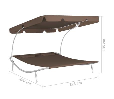 vidaXL Chaise longue de jardin avec auvent et oreillers Marron[5/5]