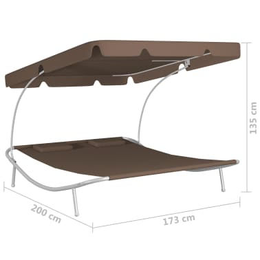 vidaXL Outdoor Double Loungebed with Canopy & 2 Pillows Brown[5/5]