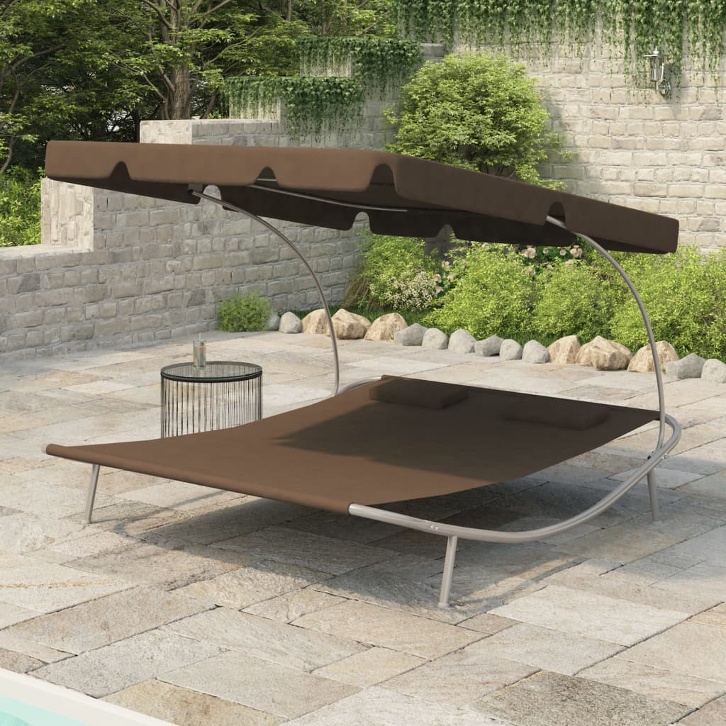 vidaXL Outdoor Double Loungebed with Canopy & 2 Pillows Brown