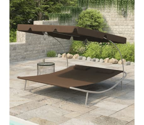 vidaXL Outdoor Double Loungebed with Canopy & 2 Pillows Brown[1/5]