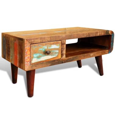 vidaXL Coffee Table with Curved Edge 1 Drawer Reclaimed Wood[1/12]