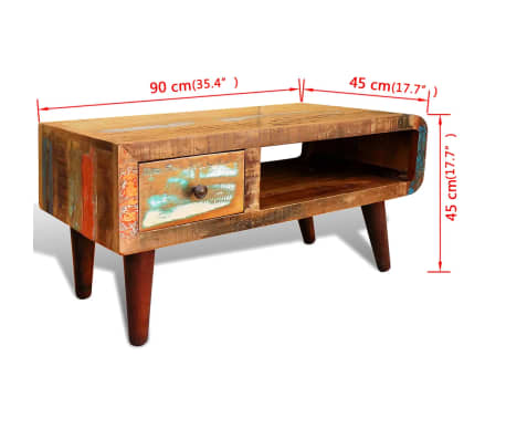 vidaXL Coffee Table with Curved Edge 1 Drawer Reclaimed Wood[12/12]