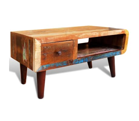 vidaXL Coffee Table with Curved Edge 1 Drawer Reclaimed Wood[3/12]