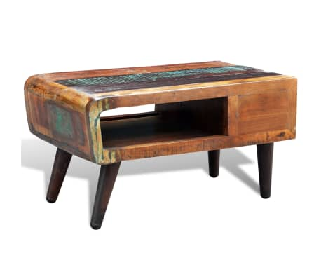 vidaXL Coffee Table with Curved Edge 1 Drawer Reclaimed Wood[6/12]